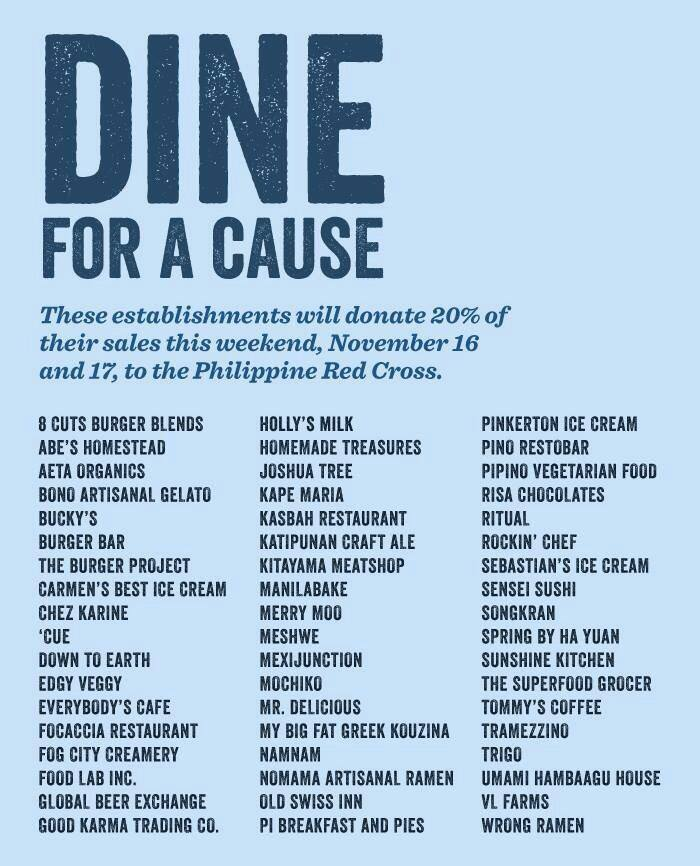 dine for a cause yolanda relief aid efforts